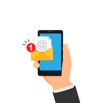 Уведомление о новом сообщении на смартфоне в руке. векторная иллюстрация eps 10