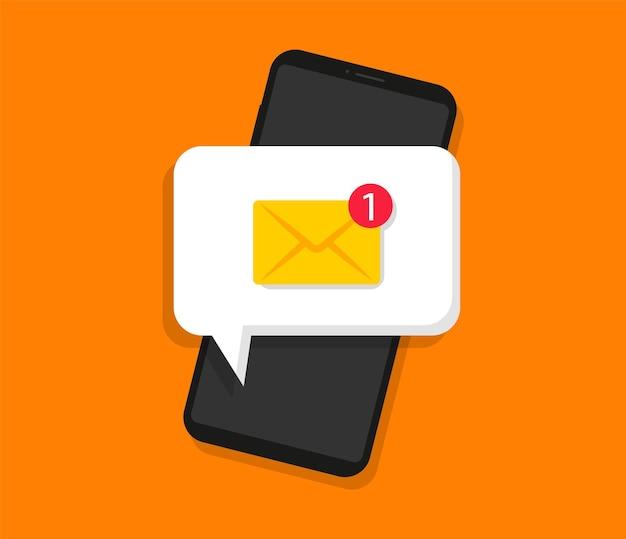 スマートフォン画面の新しいメッセージ未読メール通知