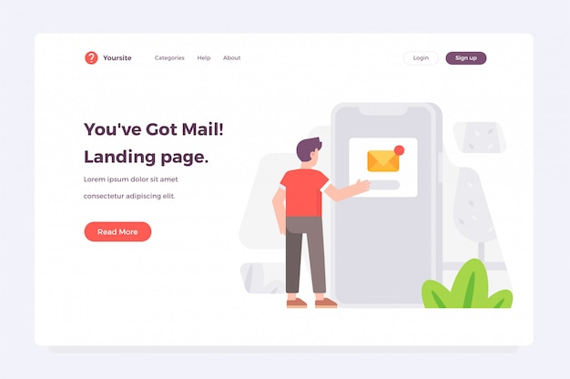 New message received landing page web template