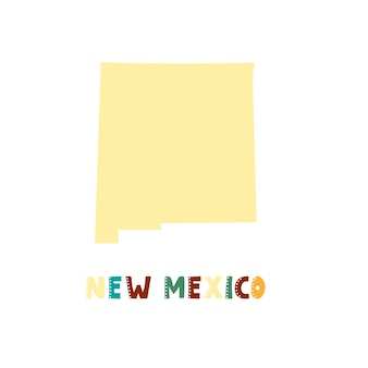 New mexico map isolated. usa collection. map of new mexico - yellow silhouette. doodling style lettering on white