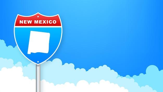 도 표지판에 뉴 멕시코 지도입니다. 뉴멕시코주에 오신 것을 환영합니다. 벡터 일러스트 레이 션.