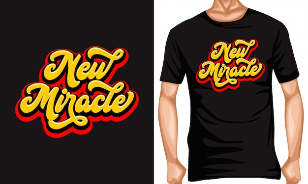 新しい奇跡のレタリングの引用とtシャツのデザイン