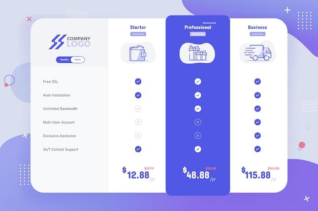 Новый современный дизайн шаблона таблицы цен на 3 плана
