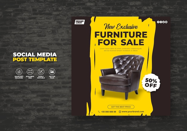 새롭고 현대적이고 독점적 인 브라운 가구 판매 프로모션 웹 배너 또는 소셜 미디어 포스트 배너