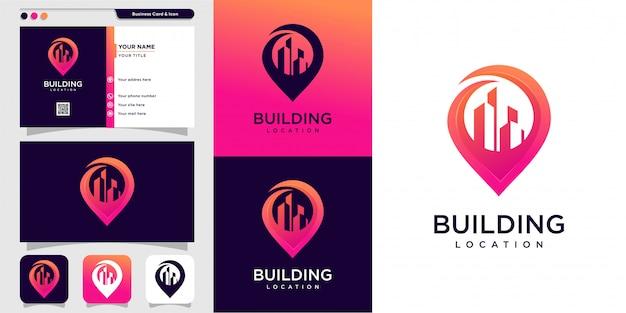 新しいモダンな建物のロゴスタイルと名刺デザイン