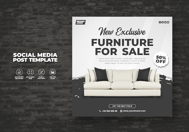 New modern and exclusive grey furniture sale promotional web banner or social media post banner   template