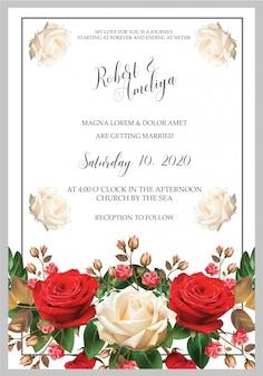 New modern wedding rose invitation card