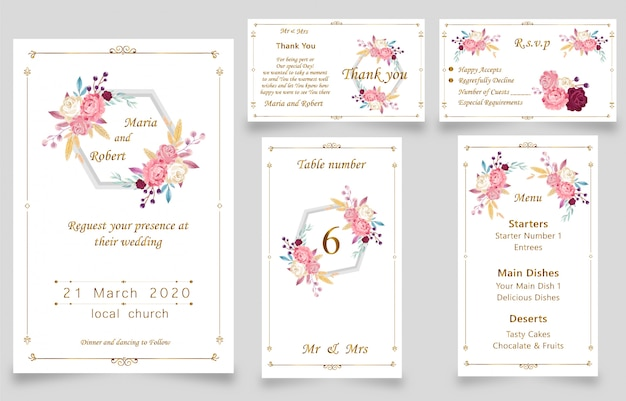 New modern wedding watercolor invitation card