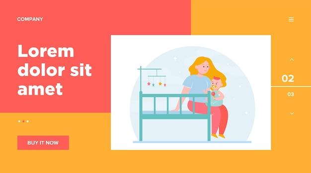 赤ちゃんを抱きしめて癒す新しいお母さん。ベビーベッド、幼児、子供と遊ぶ。ウェブサイトのデザインやウェブページのランディングのための子供時代、育児、親子関係の概念