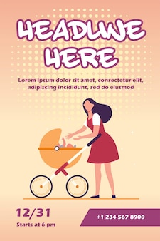 New mom walking with stroller flyer template