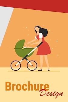 유모차와 함께 걷는 새로운 엄마. 유모차 평면 벡터 일러스트 레이 션에 아기에 게 손을 도달하는 어머니. 배너, 웹 사이트 디자인 또는 방문 웹 페이지에 대한 사랑, 모성, 육아 개념