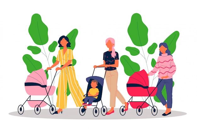 子供と歩く新しいお母さん