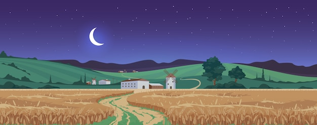 New moon above wheat fields  color  illustration