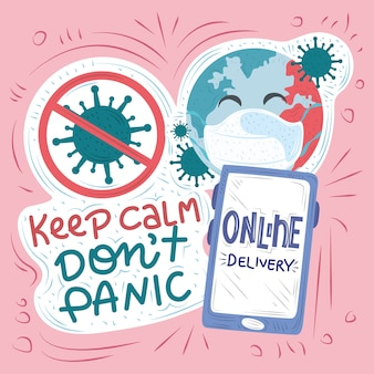 New normal, after coronavirus covid 19, online delivery, keep calm, stop virus