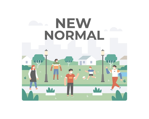 New normal after coronavirus pandemic illusration with peoples doint outdoor activity while keep practicing safety health protocols by doing social distancing and wearing a face mask