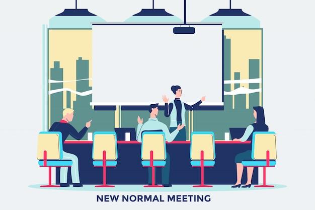 Встреча людей с новым нормальным поведением в офисе после пандемии коронавируса covid-19
