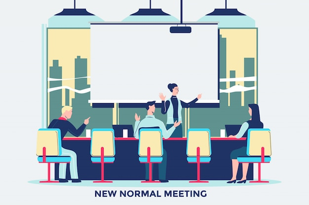 New normal behavior people meeting at the office after coronavirus covid-19 pandemic