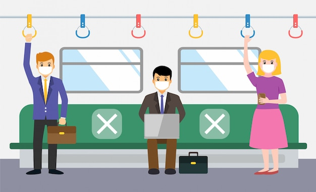 New normal, businessman make social distancing in train during covid-19
