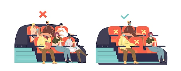 New normal in cinema during covid-19 outbreak with people keeping social distance and wearing masks for prevention of coronavirus disease. protection measures for health safety. vector illustration