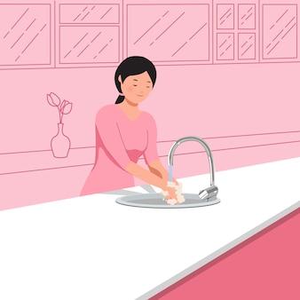 新しい通常のコンセプトのコロナウイルスのパンデミック。 covid-19の拡散を避けるために台所の流しで手を洗う女性。