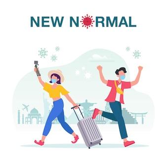 スーツケースを持った観光客のカップルとの新しい通常の概念図は、旅行に出かけ、フェイスマスクを着てコロナウイルスcovid-19を保護しています。 covid-19パンデミックコンセプト後の新しいノーマル