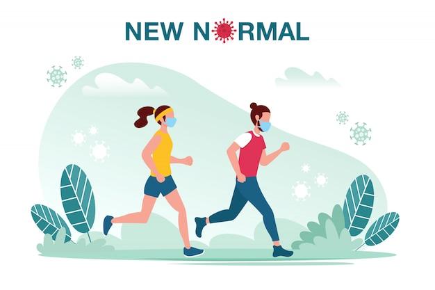 Новая иллюстрация нормальной концепции с мужского и женского пола, бег с профилактикой маски от вспышки заболевания новая нормальная концепция пандемии covid-19