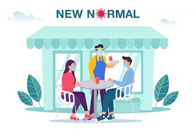 男性と女性が屋外カフェやレストランのテーブルに座って、病気の発生を防ぐフェイスマスクを備えた新しい通常の概念図。 covid-19パンデミックコンセプト後の新しいノーマル