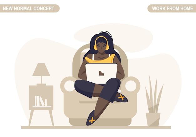 新しい通常のコンセプト。若い女性の仕事や自宅で勉強します。コロナウイルスcovid -19を防ぐための自己検疫。フリーランサーのライフスタイル。ホームスクーリング。スケーラブルで編集可能なイラスト。