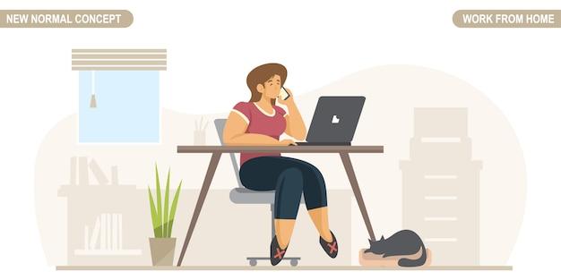 Новая нормальная концепция. молодая женщина работает или учиться на дому. самостоятельный карантин для предотвращения коронавируса covid -19. стиль жизни фрилансера. домашнее обучение.