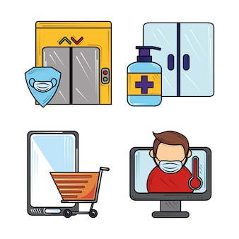 新しい通常のコロナウイルスcovid19、消毒剤の手、マスクを身に着けているオンラインショッピングアイコンセット