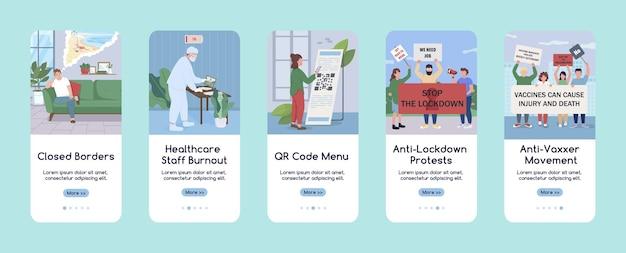 Новое обычное явление в плоском шаблоне экрана мобильного приложения covid. предотвращение распространения вирусов. пошаговое руководство по шагам сайта с персонажами. ux, ui, gui мультяшный интерфейс смартфона