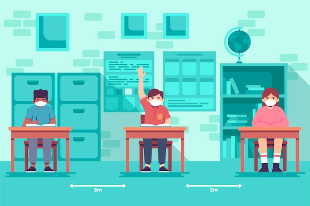 Nuova istruzione normale nelle scuole a distanza sociale