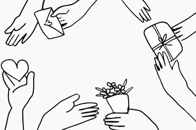 植物の親を持つ新しい通常の趣味の落書きベクトル