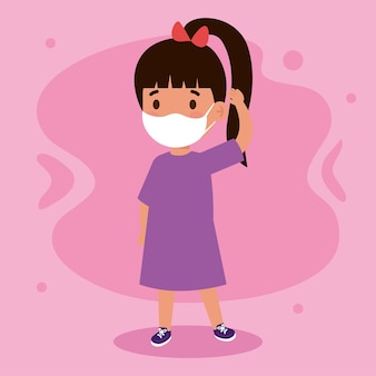 New normal illustration of girl kid with mask