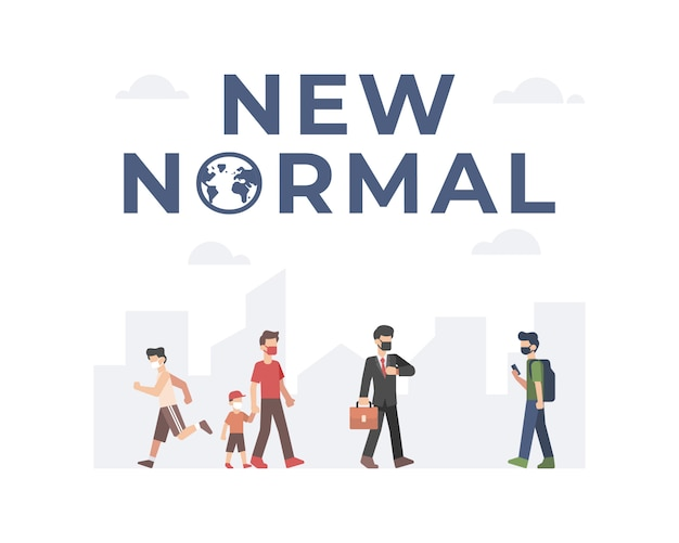 New normal illustration with peoples back to work and doing activity while keep practicing safety health protocols by wearing a face mask and doing social distancing with city background