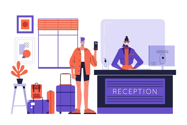 Новая нормальность в иллюстрации отелей