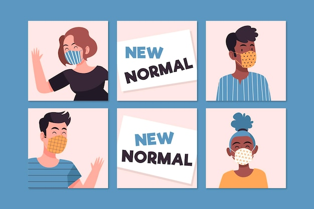 New normal instagram posts template illustrated