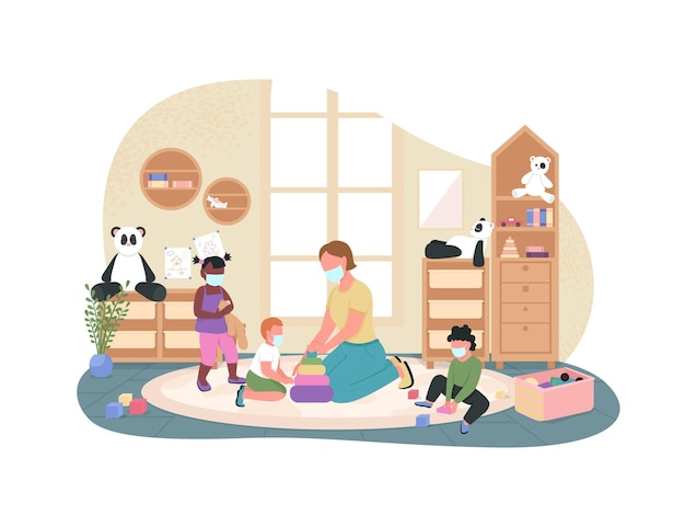 New normal in kindergarten poster illustration