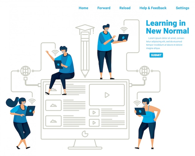 New normal learning for students in the pvidemic covid 19. utilizing technology and internet connection for learning. illustration design of landing page, website, mobile apps, poster, flyer, banner