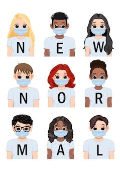 白いシャツの背景と医療マスクを身に着けている多様な女の子と男の子の新しい通常のレタリング