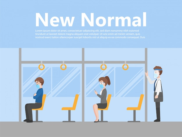 New normal life people in bus wear business casual outfits social distance
