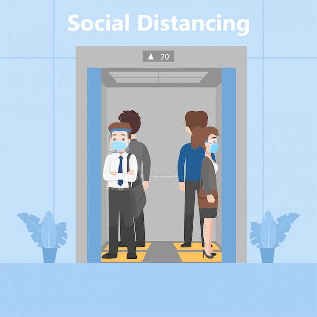 New normal life people in business outfits social distancing standing in elevator on footprint sign