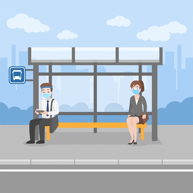 New normal life people waiting bus transport at bus stop