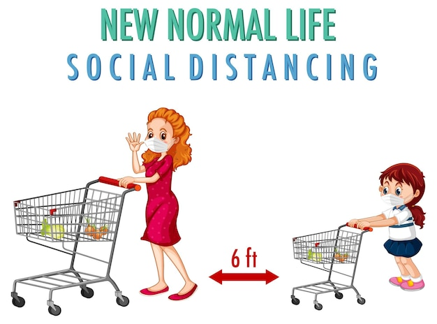 Новая нормальная жизнь с женщиной и девушкой толкают корзину покупок