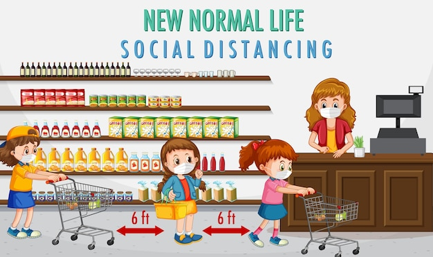 Nuova vita normale con i bambini che vanno a fare la spesa