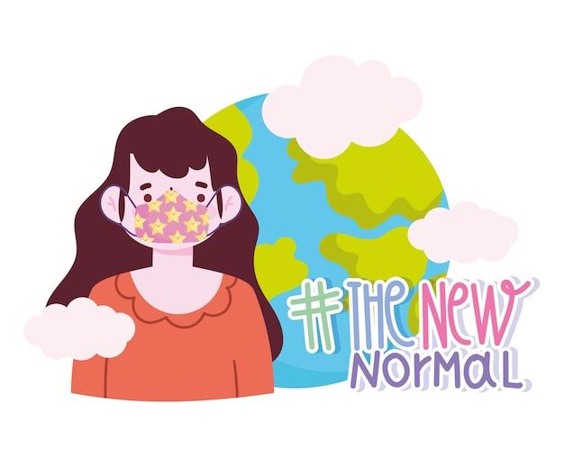 Новый нормальный образ жизни, мультяшная девушка с защитной маской и векторная иллюстрация мира