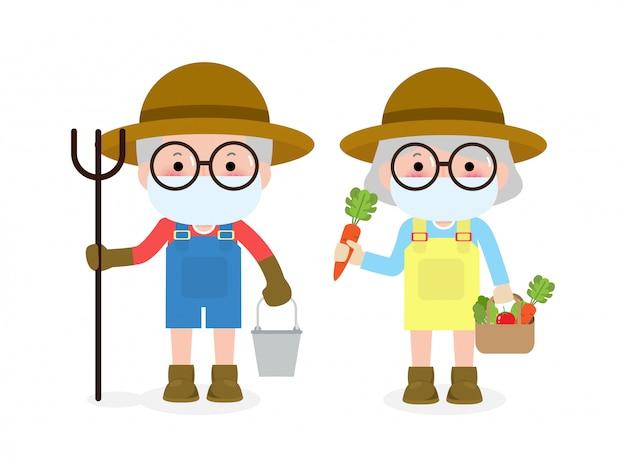 새로운 정상적인 라이프 스타일 개념. 행복 한 농부 수석 커플 얼굴 마스크를 착용 코로나 바이러스 covid-19, 노인과 늙은 여자 농업, 노인 흰색 배경 일러스트 레이 션에 고립