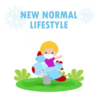 Новая концепция нормального образа жизни. счастливые дети в маске с удовольствием на игрушечном самолете на детской площадке защищают коронавирус covid-19, дети в парках на улице изолированы на белом фоне вектор