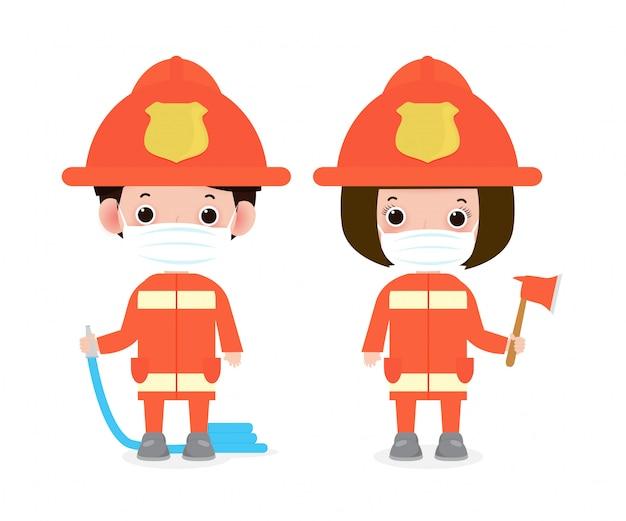 새로운 정상적인 라이프 스타일 개념. 얼굴 마스크를 착용하는 행복 직업 소방관 코로나 바이러스 covid-19, 흰색 배경 벡터에 고립 된 화재 안전 장비와 직업 소방관