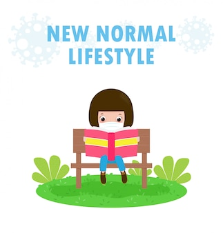 New normal lifestyle concept little cute kids wearing face mask sitting on the bench and reading book on grass stay at home learning for children protect coronavirus 2019 ncov covid-19 isolated